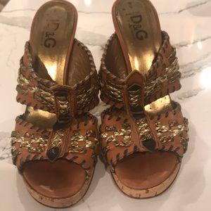 Dolce & Gabbana 70ms boho vibe cork wedge sandals
